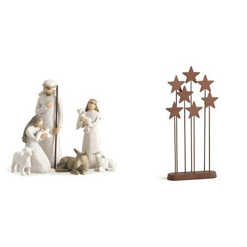Willow Tree Nativity, 6-piece set of figures by Susan Lordi 26005 & Willow Tree Metal Star Backdrop by Susan Lordi 26007 by