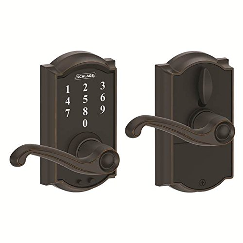 Schlage FE695-CAM-716-FLA Aged Bronze Camelot Keyless Touch Pad Electronic Leverset with Flair Lever ()