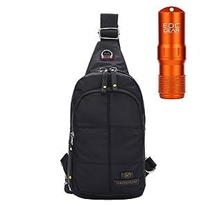 [GRACES]Waterproof Black Sporty Cross BodyBag With EDC GEAR Waterproof Capsule Bottle, Sling Backpack