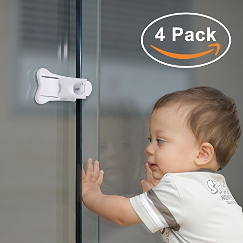 Adoric 4-Pack Sliding Door Locks for Baby Safety, Childproof Lock for Sliding Closet Cupboard Bathroom Kitchen Doors Windows, No Tools Needed, (Sliding Closet Door Locks)