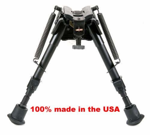 """BRMS Harris bipod, 6"""" to 9"""" Swivels (tilts), notched legs spring loaded"""