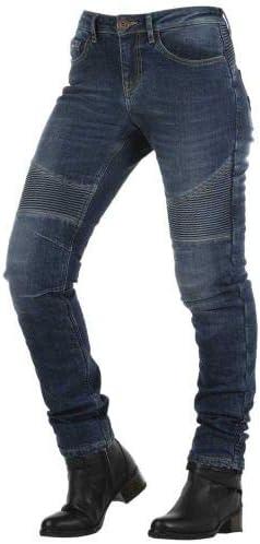 OVERLAP Imola Smalt - Pantalones Vaqueros para Mujer, homologados para Carretera, Azul, Talla 30
