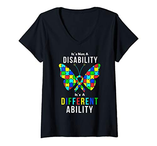 Womens Autism Awareness Puzzle Pieces Ribbon and Butterfly Design V-Neck T-Shirt
