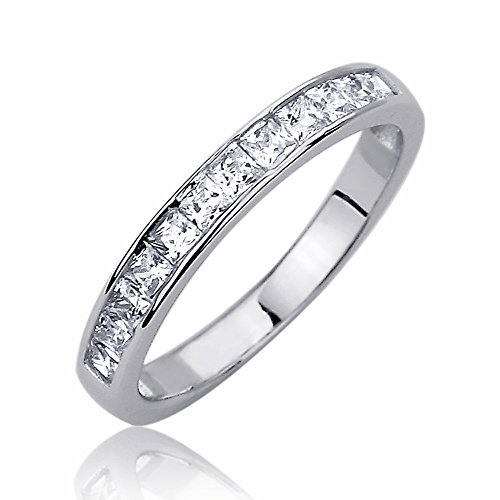 Sterling Silver 3mm Channel Set Princess Cut CZ Stackable Band Engagement Ring -Size: 7