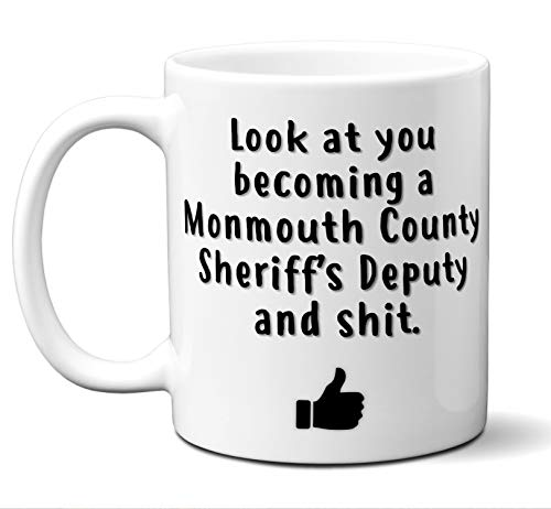 Monmouth County Sheriff Graduation Gifts. New Rookie Police Academy Officer Graduates Mug. Coffee Cup Men Women Him Her School Graduating Students Class 2019 Card Funny Grad Congratulations. (White County Police)