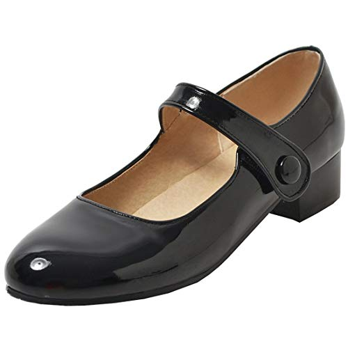 Artfaerie Womens Low Heel Mary Janes Ballet Flats Comfortable Patent Leather Court Shoes (US 5.5, Black)