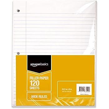 """AmazonBasics Wide Ruled Loose Leaf Filler Paper, 120-Sheet, 10.5"""" x 8"""", 6-Pack"""