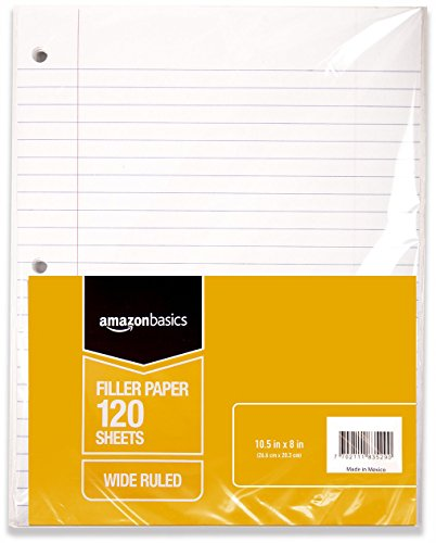 AmazonBasics Wide Ruled Loose Leaf Filler Paper, 120 Sheet, 10.5 x 8 Inch, 6-Pack - Loose Leaf Notebooks