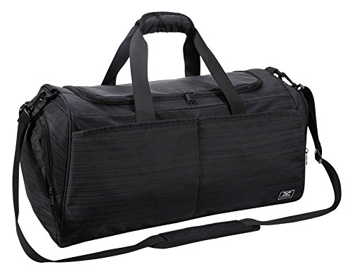 MIER Gym Bag for Women and Men Sports Duffle with Shoe Compartment, 21 Inches, Black]()
