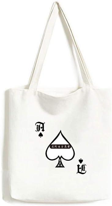 Chinese Culture Qing Dynasty line Drawing Handbag Craft Poker Spade Canvas Bag Shopping Tote