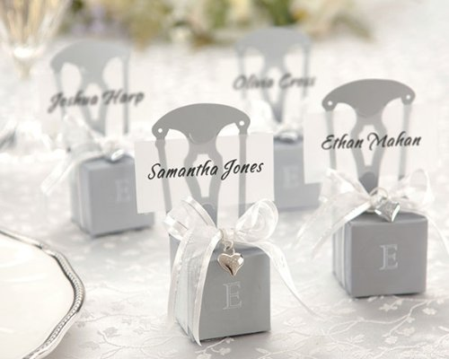 Miniature Silver Chair Favor Box with Heart Charm and Ribbon Set of 12 K15005NA Quantity of ()