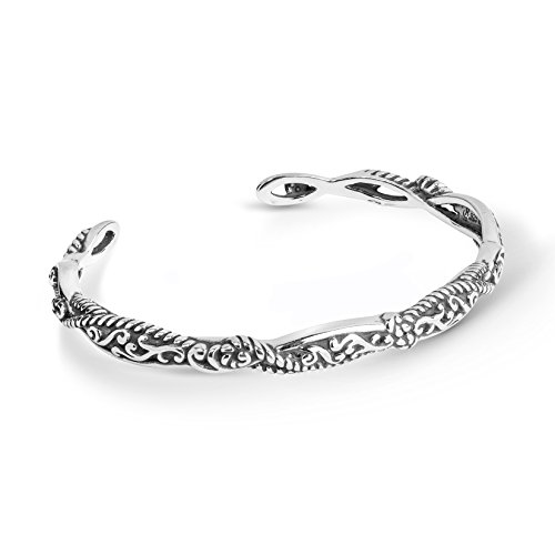Carolyn Pollack Sterling Silver Scroll and Rope Cuff Bracelet Size Medium