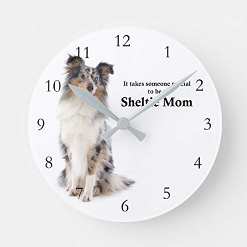 (Blue Merle Sheltie Mom Large Wall Clock for Kitchen Bedroom Living Room Home Office Decor 16 Inches)