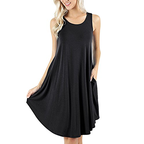 (Wintialy Women's Sleeveless Dress Pockets Casual Swing T-Shirt Dresses Please Check The Black)