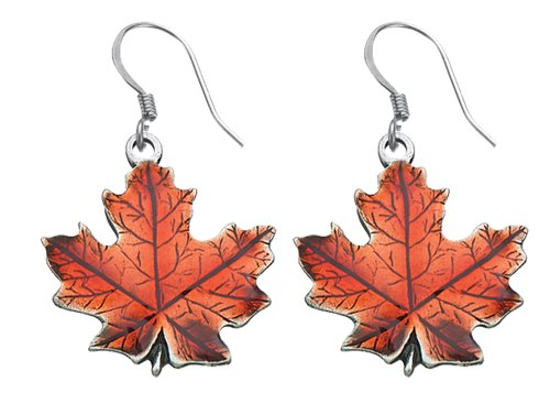 DANFORTH - Maple Leaf/Autumn Earrings - 3/4 Inch - Pewter - Handcrafted - Surgical Steel Wires - Made in USA ()