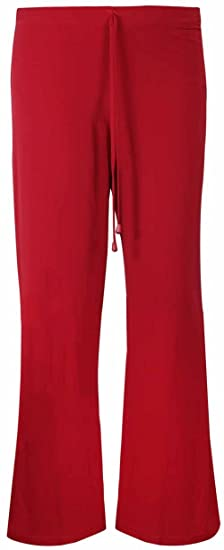 5a198db88ad0 Womens Plain Wide Leg Casual Trousers Ladies Stretch Fit Tie Trim Palazzo  Pants Plus Size  Amazon.co.uk  Clothing