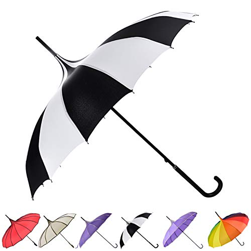 Outgeek Umbrella Retro Pagoda Umbrella Parasol Umbrella Sun Umbrella UV Protection Umbrella Retro with Hook Handle (White & Black) -