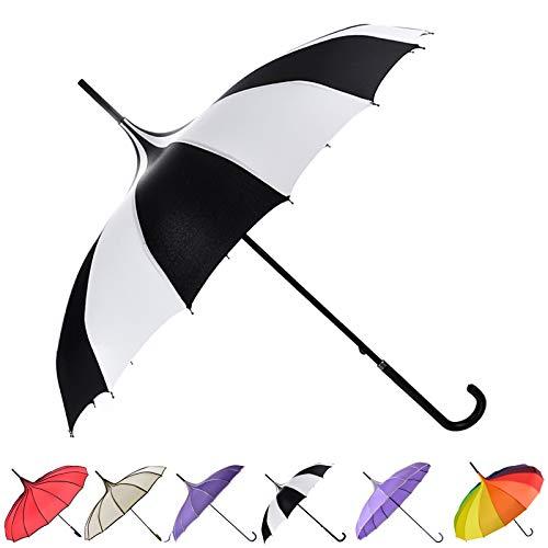 Outgeek Umbrella Retro Pagoda Umbrella Parasol Umbrella Sun Umbrella UV Protection Umbrella Retro with Hook Handle (White & Black)]()