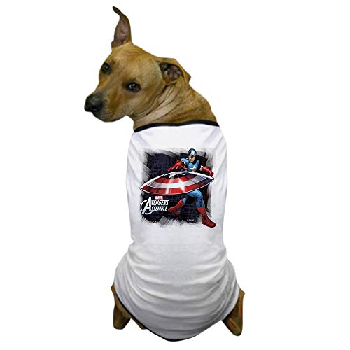 CafePress Captain America with Shield Dog T Shirt Dog T-Shirt, Pet Clothing, Funny Dog Costume -