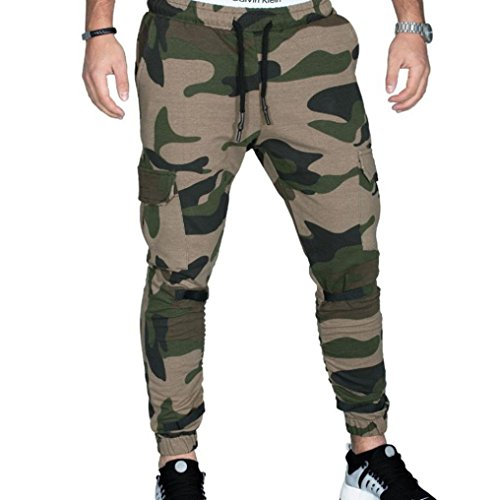 Men's Slim Fit Cotton Twill Chino Jogger Pants, Men Tight Beam Foot Drawstring Sports Slacks Casual Trousers (Army Green, XXL) by HTHJSCO