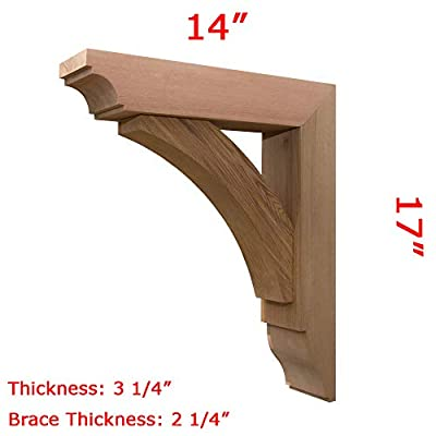 """Pro Wood Market - Wood Bracket 02T33 Smooth Finish -Projection 14"""" -Height 17"""" -Thickness 3 1/4"""" -Brace Thickness 2 1/4"""""""