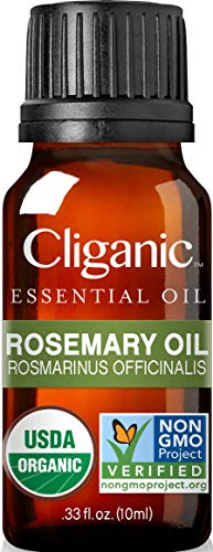 Cliganic Organic Rosemary Essential Oil, 100% Pure Natural Undiluted, Therapeutic Grade for Aromatherapy | Non-GMO Verified