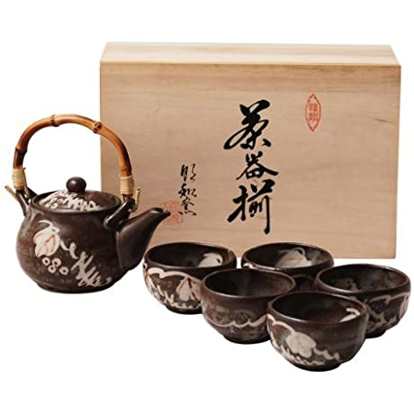 Kitoen Shino With Teapot 2 9inch Set Of 5 Japanese Teacups Black Ceramic