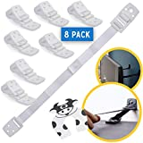 Bebe Earth - Furniture and TV Anti-Tip Straps (8-Pack) for Baby Proofing & Child Protection | Adjustable Wall Anchor Safety Kit | Secure Cabinets & Bookshelf from Falling - White