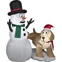 Gemmy Inflatables Holiday G08 87190 Aire soplado Golden Retriever Snowman Scene Decor