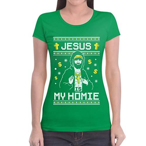 Is Di Natale Verde Fit Homie Da Divertente Jesus Maglietta Donna Slim Regalo My dpnqdfS