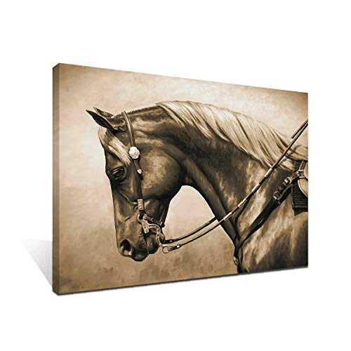 iFine Art Wall Art Inner-Framed Oil Paintings Printed on Canvas Modern Artwork for Home Decorations and Easy to Hang for Living Room, Bedroom-Western Horse