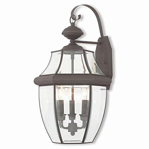 Livex Lighting 20286-07 Monterey 3 Light Outdoor Wall Lantern, Bronze - 07 Monterey Outdoor Light