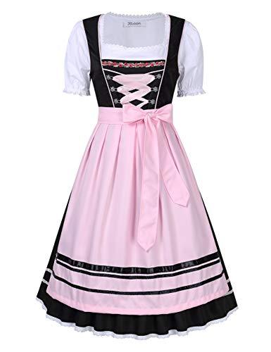Grembiule pezzi KOJOOIN Donna Oktoberfest per da Midi Abito Dirndl Abito Camicetta Rosa E Tradizionale Nero Costumi in Tre qB6rPBH