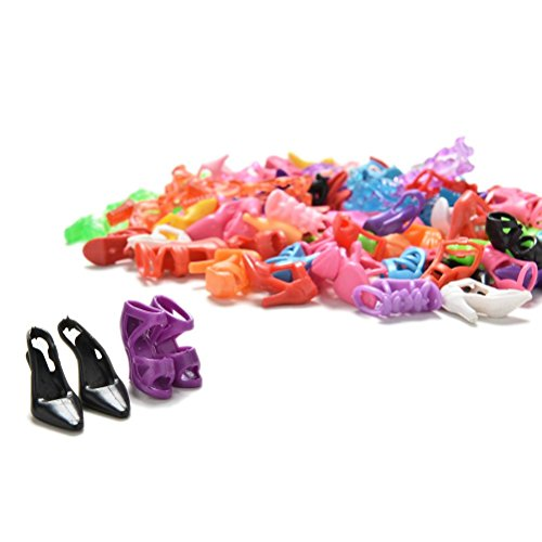 (High Heel Doll Shoes - 40 Pairs Multiple Styles Heels Sandals Mix Assorted Doll Shoes Dolls - Toy High Heels)
