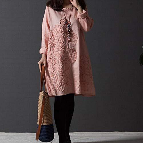 Cerimonia Casuale Rosa Rawdah Completi Patchwork Biancheria Quotidiano Mini Aderente donna Bohe Floreale sportivi Vestito sciolto cotone da I0wIr