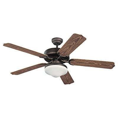 Monte Carlo Weatherford Deluxe 52-Inch 5-Blade Outdoor Ceiling Fan with Light Kit and Walnut ABS Blades