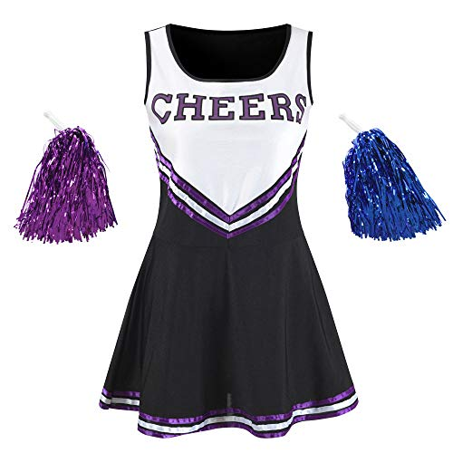 Makroyl Women's Musical Uniform Fancy Dress Complete Outfit High School Cheerleader Costume (Black, Medium) -