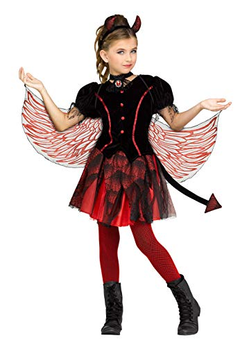 Fun World Fiery Devil Costume, Large 12-14, Black -