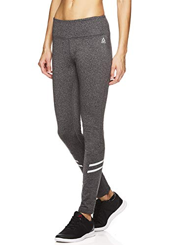 Reebok Women's Leggings Full Length Performance Compression Pants - Athletic Workout Leggings for Women for Gym & Sports - Formula Charcoal Heather Grey, Small