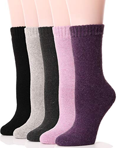 EBMORE Womens Wool Socks Thick Heavy Thermal Fuzzy Cozy Winter Cold Weather Socks (Multicolor-A)