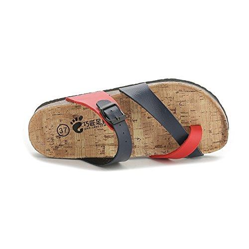 di pantofole blu sandali piedi di antiscivolo studente dimensioni 37 Set ladies' di flop toe flip spiaggia piatto Versione XIAMUO grandi estate rosso coreana clip cork e XqBBEZ