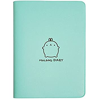 New 2019-2020 Cute Kawaii Notebook Cartoon Molang Rabbit Journal Diary Planner Notepad for Kids Gift Korean Stationery Three Covers (Blue)