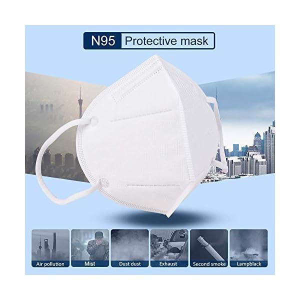 Mascarillas N95, Máscaras Desechables Protección de 5 Capas Reutilizable Transpirable y PM2.5 para Hombres y Mujeres para Deportes al Aire Libre, Fumar, Ciclismo, Viajes 4