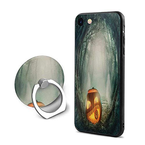 (Halloween iPhone 6 Plus/iPhone 6s Plus Cases,Drawing of Scary Halloween Pumpkin Enchanted Forest Mystic Twilight Party Art Orange Teal,Mobile Phone Shell Ring)