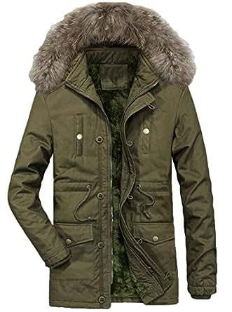 Twcx Men's Fleece Lined Winter Warm Hooded Coat Cotton