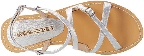 Argento Shoes Donna con Silver Pu Tumble Sandali Zeppa 5298 Buffalo 316 wx6TzFdq77
