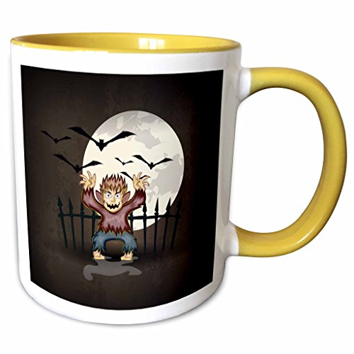 3dRose Dooni Designs Halloween Designs - Spooky Scary Werewolf Monster Spooking In Front Of Full Moon With Bats Halloween Illustration - 15oz Two-Tone Yellow Mug (mug_150037_13)]()