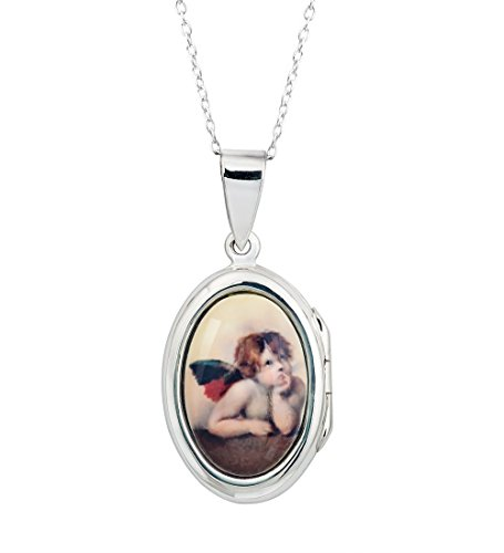 Oval Locket Raphael Cherubs Angel Pendant Catholic Sterling Silver Pendant chain 16 - 20 (20)