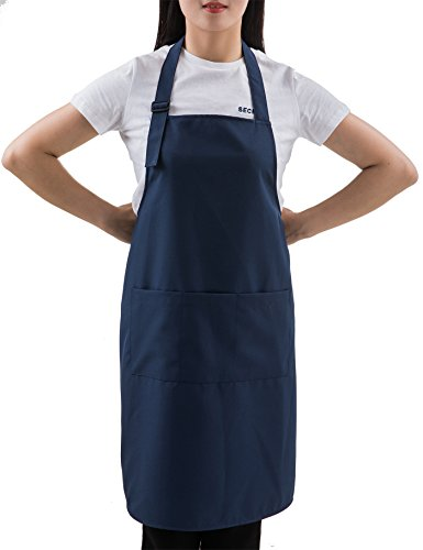 SEW UR LIFE Navy Professional Resist Water Adjustable Extra Long Bib Apron 3 Pockets Home Kitchen Garden Restaurant Cafe Bar Pub Bakery for Cooking Chef Baker Servers Craft Unisex