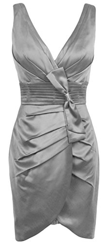 MACloth Women V Neck Satin Short Bridesmaid Dress Formal Evening Party Gown Plateado